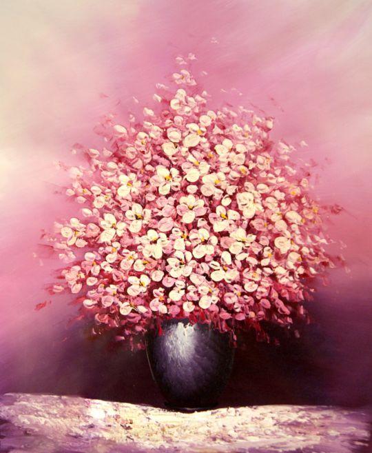 Розовый букет.худ.С.Минаев