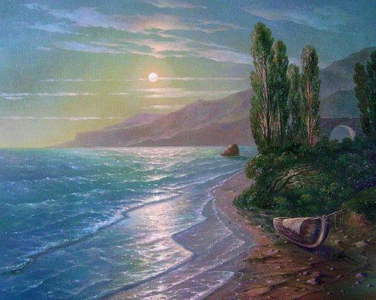 Морской вид при луне.