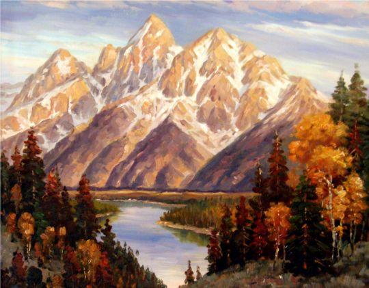 Рассвет в горах.худ.С.Минаев
