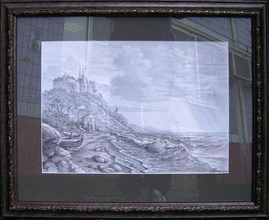Замок на морском берегу. Вид с оформлением.