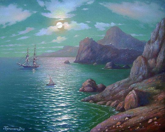Скалистый берег в лунную ночь.