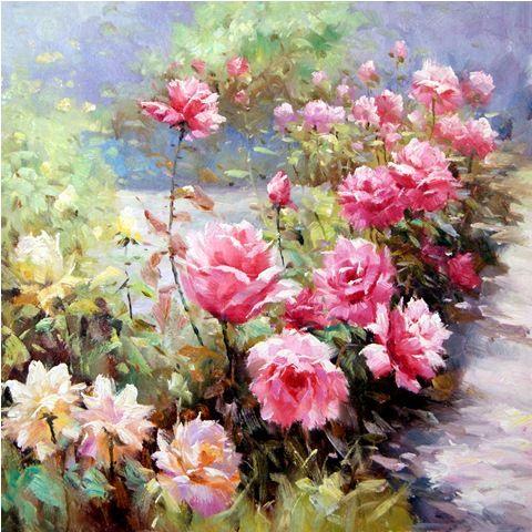 Розы в саду.худ.А.Джанильятти