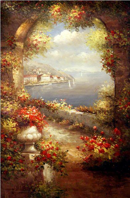 Вид с балкона.худ.Р.Смородинов