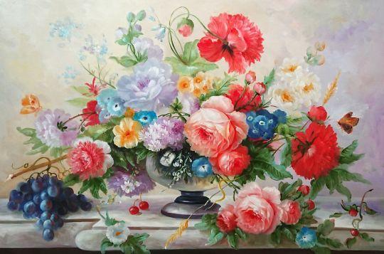 Букет роз в прозрачной вазе.худ.Р.Смородинов