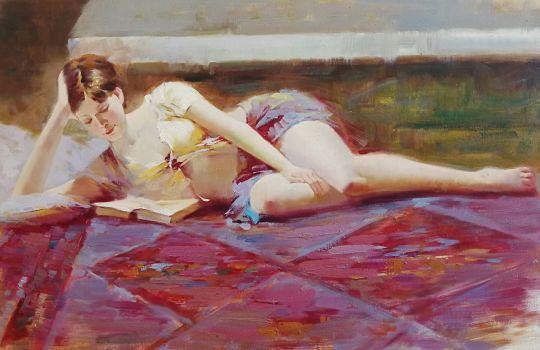 За чтением (Reading, копия картины Пино Дени)