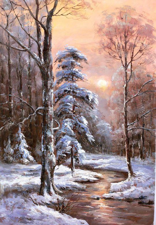 Зимний пейзаж. Вдоль незамерзающего ручья (N1)