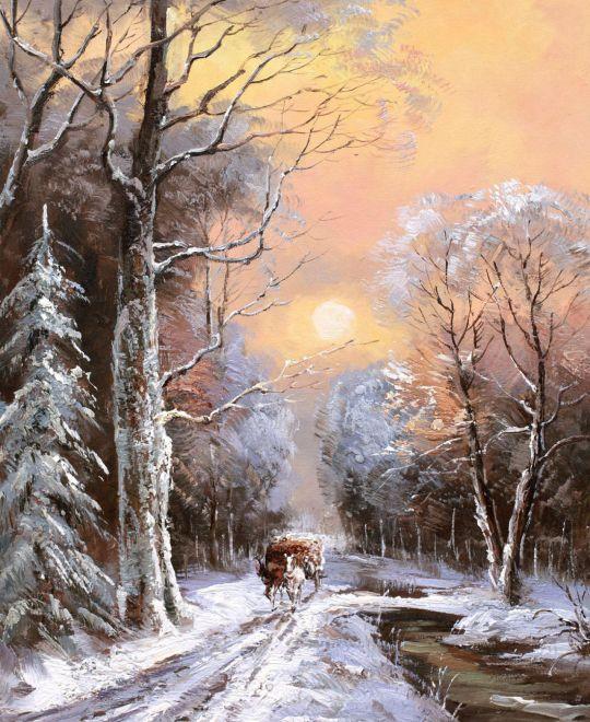 По зимней дороге вдоль незамерзающего ручья