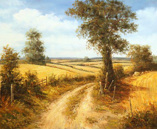 Дорога в полях в летний полдень (автор А. Ромм)