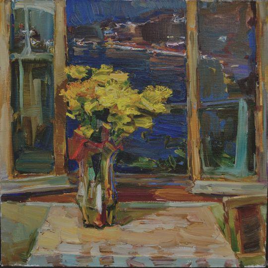 Осенний букет на вечернем окне