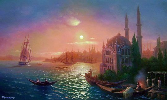 Вид Константинополя при лунном освещении.