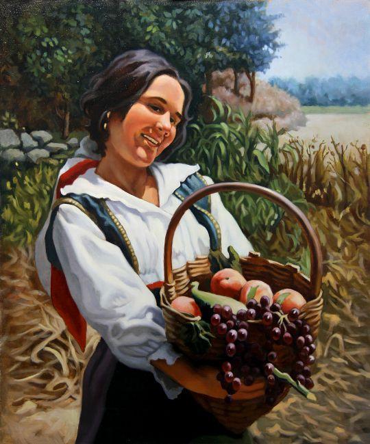 Крестьянка с корзиной. Копия