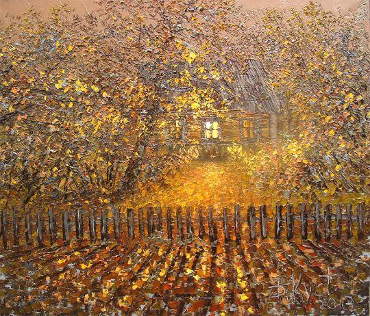 Деревенский дворик осенним вечером