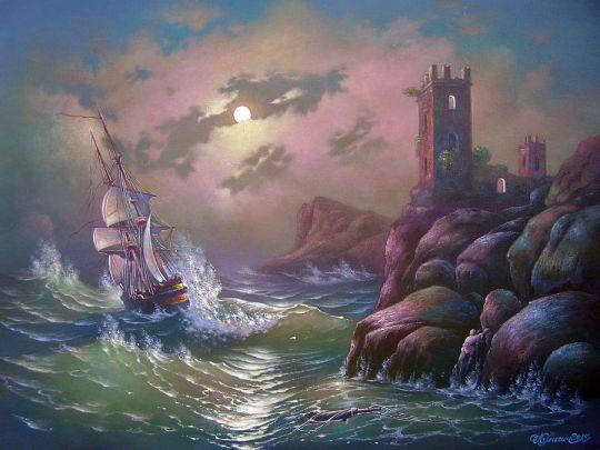 Бурное море в лунную ночь.