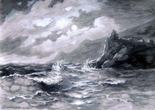 Эгейское море в лунную ночь.
