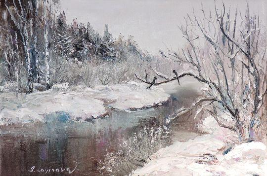 Зимний пейзаж с сороками