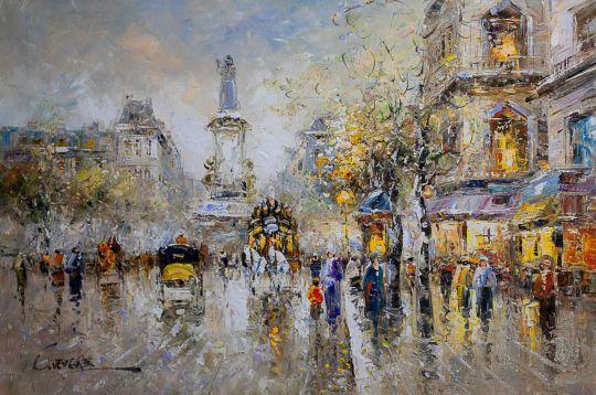Пейзаж Парижа Антуана Бланшара Place de la Republic (копия Кристины Виверс)