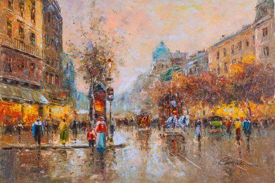 Пейзаж Парижа Антуана Бланшара Les grands boulevards (Большие бульвары Парижа)