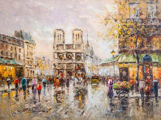 Пейзаж Парижа Антуана Бланшара Place Saint Michel Notre Dame (копия Кристины Виверс)