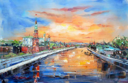 """Пейзаж маслом """"Утренняя Москва. Рассвет над Москва-рекой"""""""