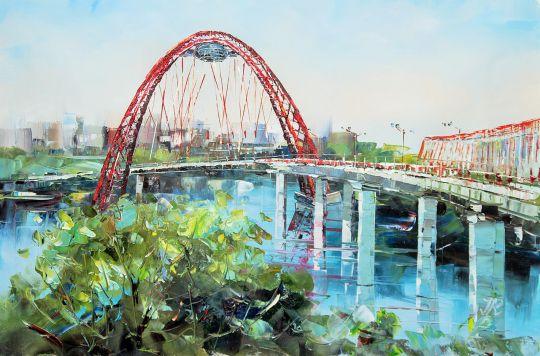 """Пейзаж маслом """"Москва. Живописный мост в Серебряном бору. Вид с берега"""""""
