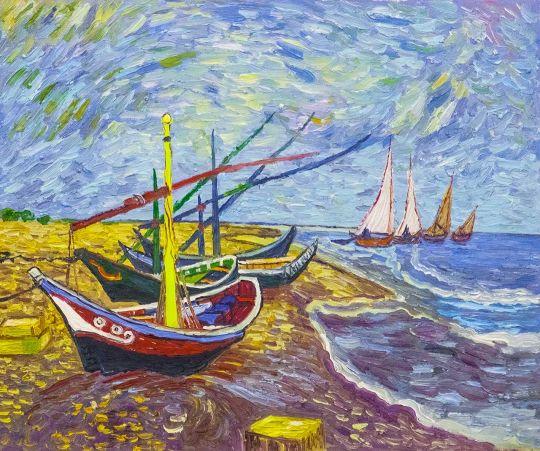 Рыбачьи лодки на берегу в Сен-Марье (копия картины Ван Гога)