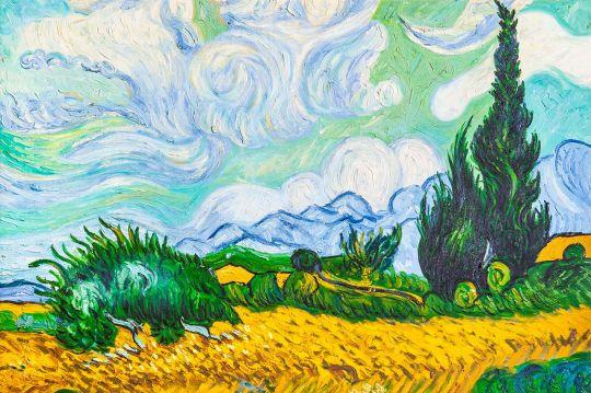 Копия картины Ван Гога Пшеничное поле с кипарисам, 1889 г.