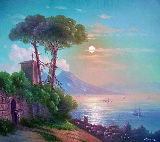Неаполитанская ночь с видом на Везувий.