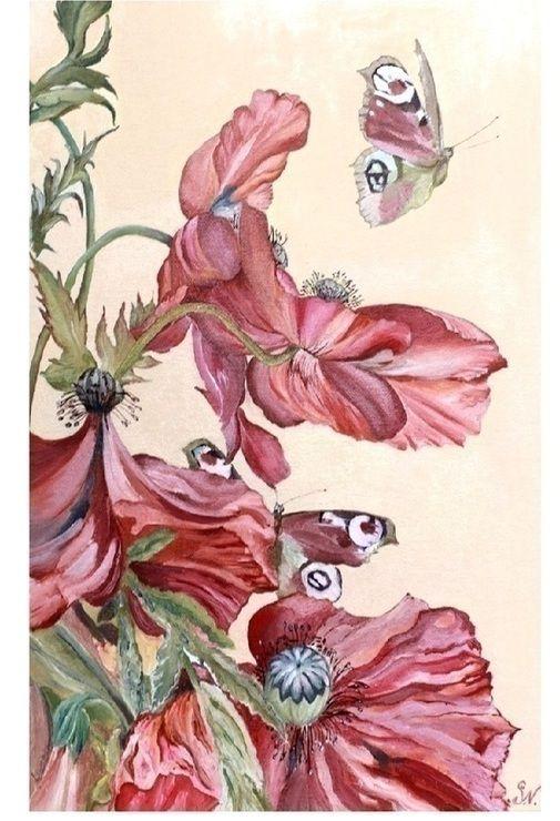 Красивая картина лето маки бабочки в стиле шебби розовый светлый кремовый