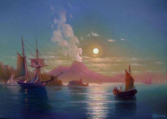 Неаполитанский залив в лунную ночь.