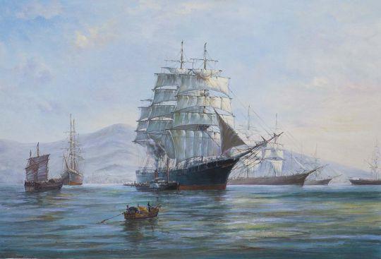 Вольная копия картины Доусона Монтего (Montague Dawson) «Chinese Port-morning Departure» (Утренний выход из китайского порта)