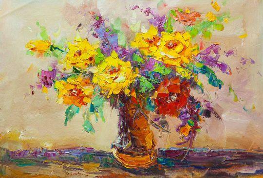 Разноцветный букет с желтыми розами N2