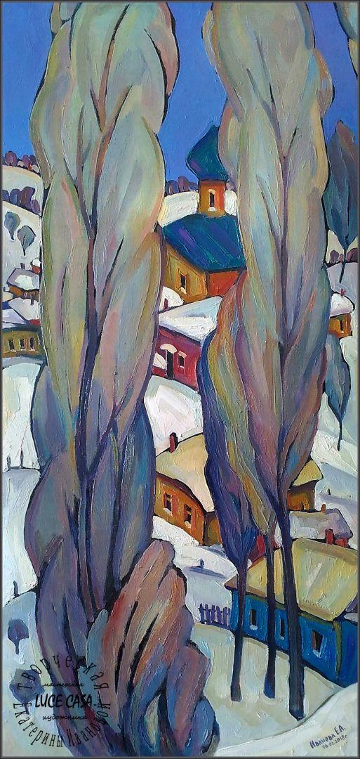 Триптих. Русская зима Суздаль. 3 картины.Правя часть.