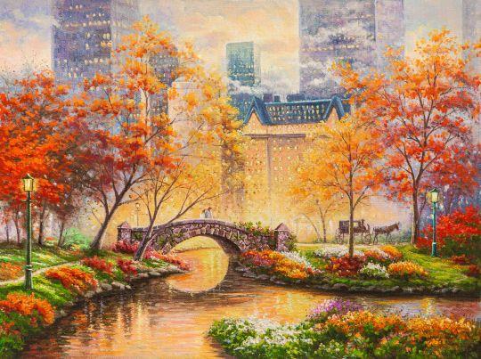 Копия картины Томаса Кинкейда Центральный парк осенью (Central  park in the fall)