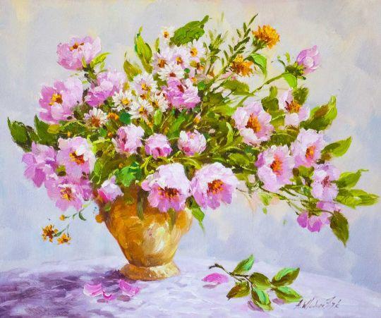 Весенний букет в глиняной вазе