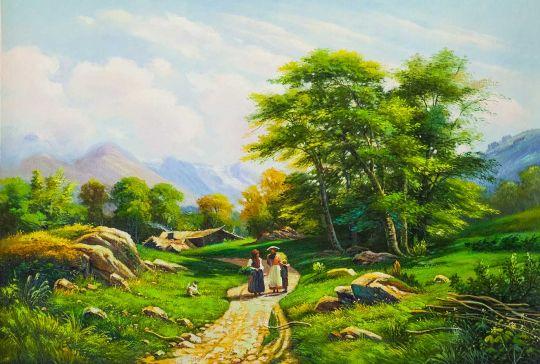 Копия картины Ивана Шишкина. Швейцарский пейзаж