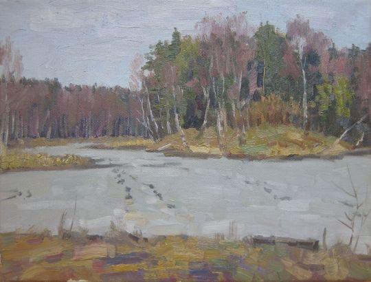 Озеро под льдом. Ранняя весна.