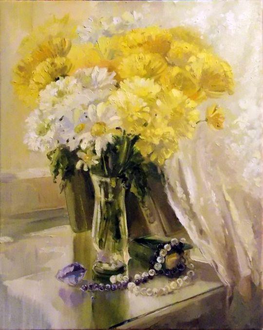 Хризантемы с аметистами и жемчугом