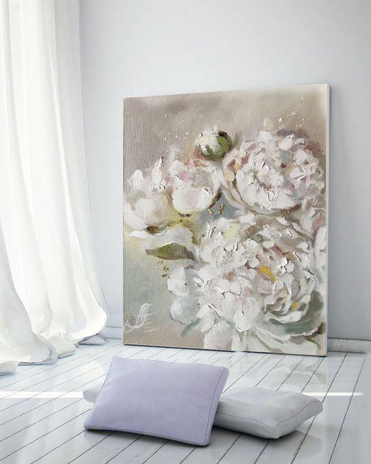 Пионы Нежное суфле - картина маслом на холсте
