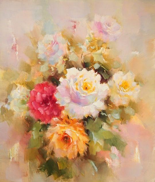 В саду (Цветущие розы).худ.А.Джанильятти