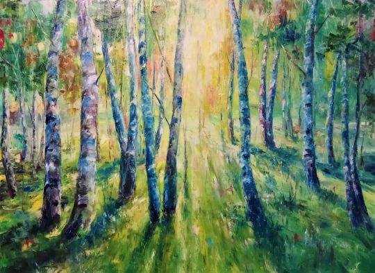На закате в лесу