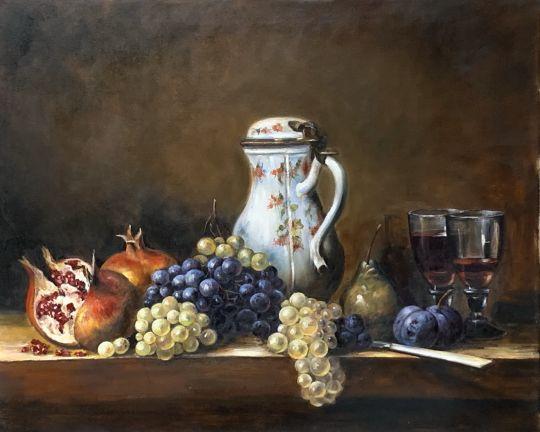 Натюрморт с виноградом и гранатами