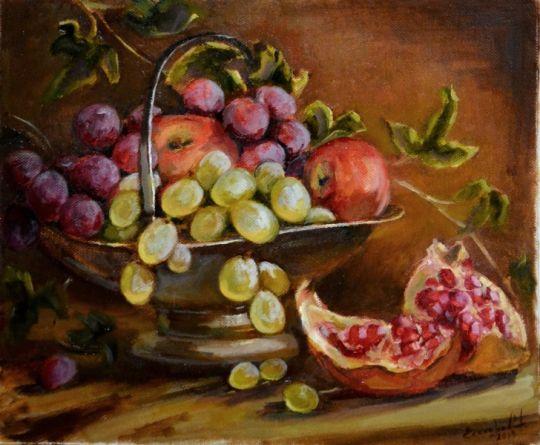 Натюрморт с гранатом и фруктами
