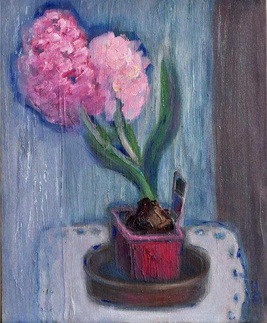 Картина маслом Гиацинты, цветы, живопись  © https://