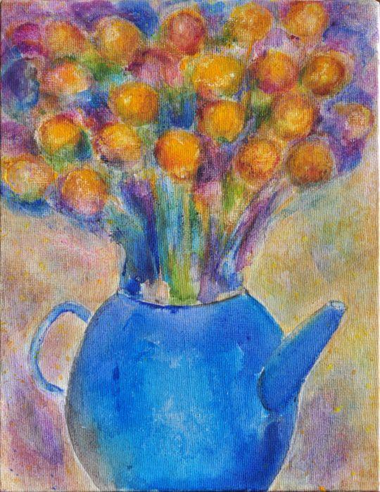 Картина Голубой чайник и желтые цвeты