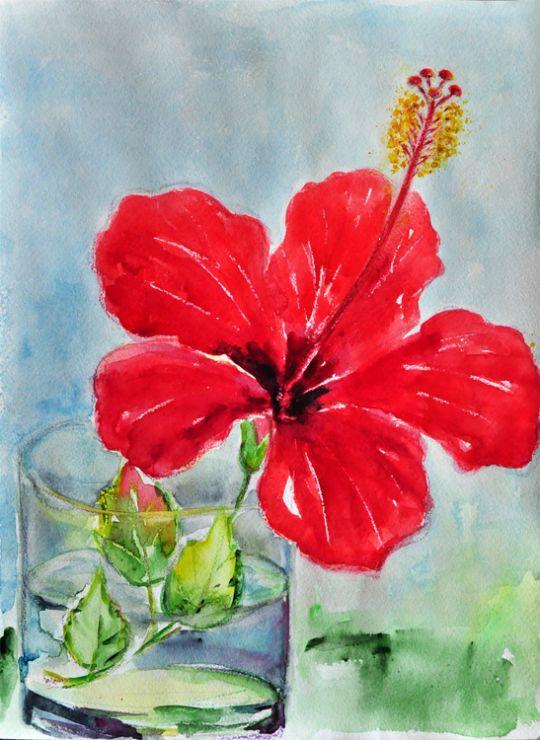 Картина акварелью Красный цветок. Гибискус.
