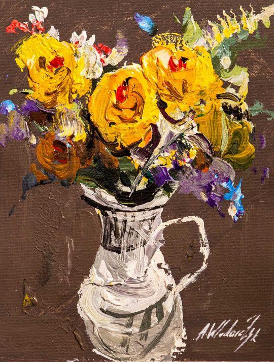 Букет жёлтых роз в кувшине N2