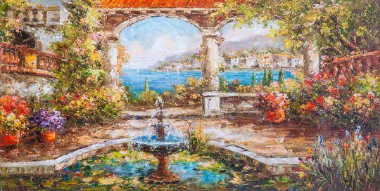 Средиземноморский дворик. Фонтан и кувшинки