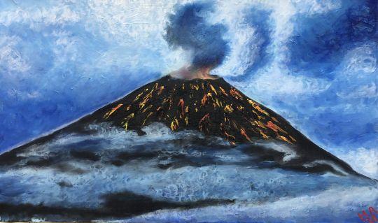 Вулкан в тумане