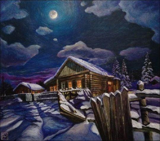 Заброшенная деревня в лунную ночь