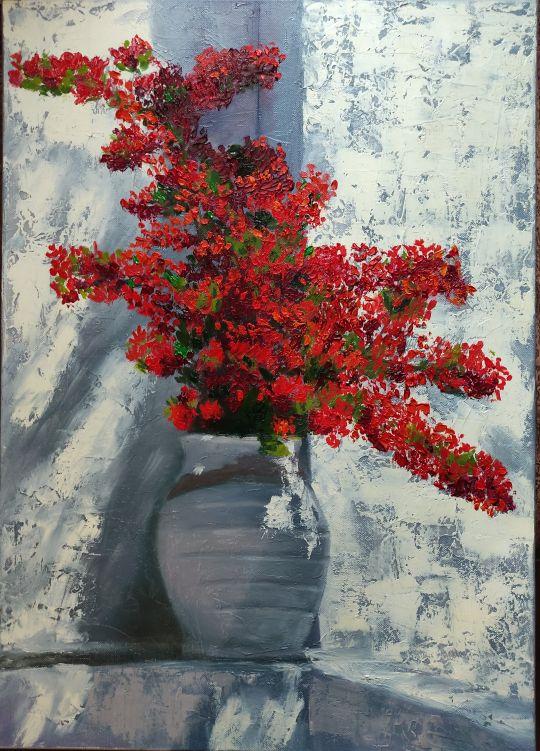 Красные цветы у белой стены